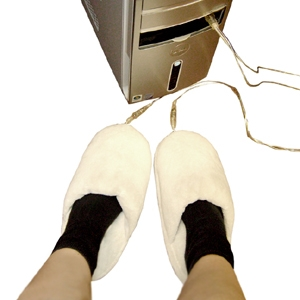 USB Heated Slippers: White or Pink - Sale Price £4.99 ($7.64)