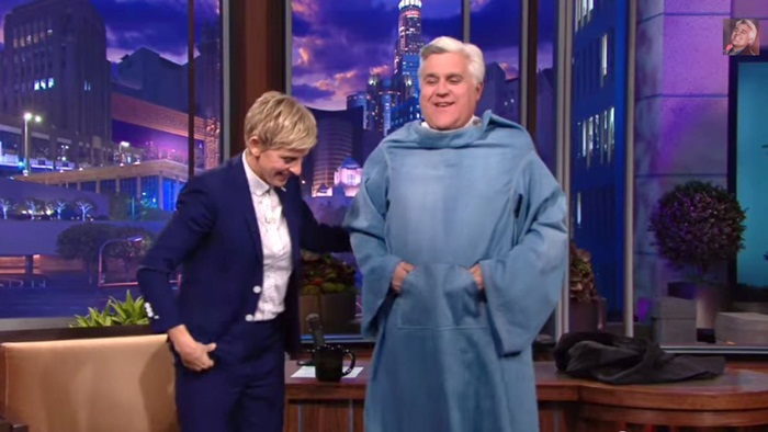 Jay Leno in a Snuggie